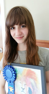 "Janae D'Arensbourg,  1st Place, Student Under Glass award for her work ""The Lion."""