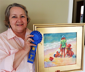 "Donna Kilbourne's 1st place, Adult for her work ""Sand Supervisor."""
